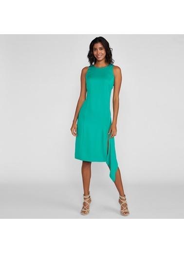Vekem-Limited Edition Sıfır Yaka Sıfır Kol Asimetrik Kesim Elbise Yeşil